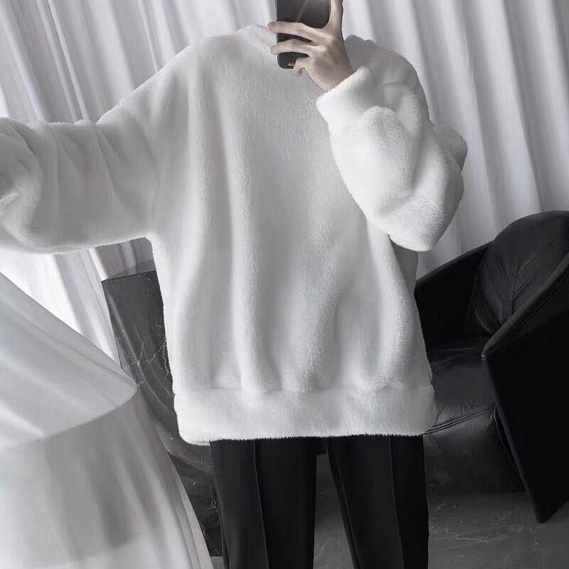 Lambswool Sweatshirt Solid Pullover Men's Warm Turtleneck Pullover Trendy Men's Clothing