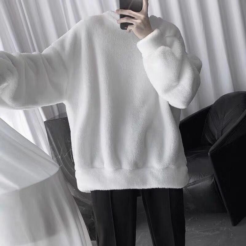 Lambswool Sweatshirt Solid Pullover Men's Warm Turtleneck Pullover Trendy Men's Clothing