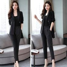 2019 Women Long Sleeve Patchwork Office Suits Set Work Singl
