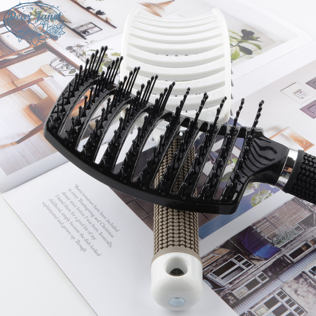 1pc Black/White Detangling Hair Brush Handle Curved Tangle Comb pompadour Shower Massage scalp Comb Salon Hairdressing