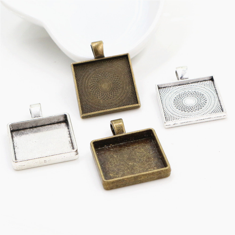 New Fashion 6pcs 20mm Inner Size 4 Style Square Cabochon Base Setting Charms Pendant,Fit  20mm Square Glass Cabochons