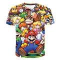 Футболка с принтом «Супер Марио» для мальчиков и девочек, детские топы, одежда для игр «Марио Брос», летняя одежда с короткими рукавами, футб...