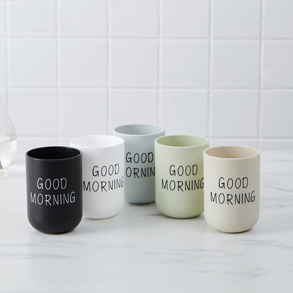 Eco-friendly Simple Nordic Style Good Morning Cups Toothbrush Holder Cup PP Rinsing Cup Wash Tooth Cup Bathroom Sets