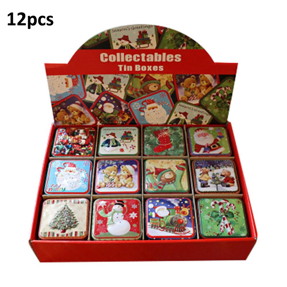 12PCS Christmas Small Square Box 2.99x2.99x2.56in Tin Packaging Gift For Candy Baking Biscuit