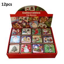 12PCS Christmas Small Square Box 2.99x2.99x2.56in Tin Packaging Gift Box For Candy Baking Biscuit Christmas Candy Small Gift Box(China)