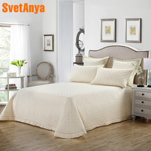 Nordic Beige Solid Simple Quilting Bedsheet Print Cotton Stitching Bedlinens Bed Cover 3pcs Bedspread Set Pillowcases(China)