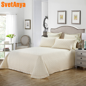 Image 1 - Nordic Beige Solid Simple Quilting Bedsheet Print Cotton Stitching Bedlinens Bed Cover 3pcs Bedspread Set Pillowcases