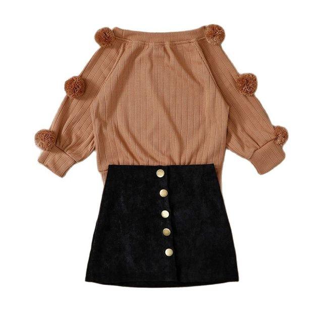 2Pcs Spring Autumn Lovely Girls Cotton Dress Set Childeren Clothing  Suits Long Sleeve Shirt +Knee-Length Skirt  2-7Years 2