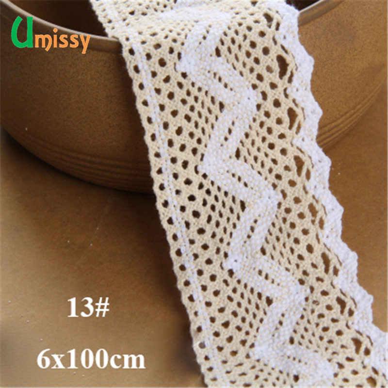 1 metros 100% Algodão da Tela Do Laço Bordado Guarnição do Laço De Tecido de Malha de Fita de Costura Artesanal Accessaories