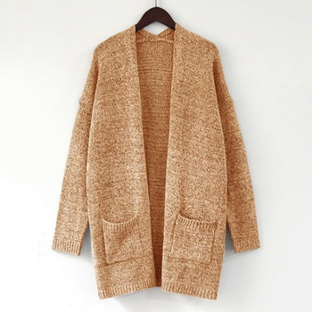 Oversized Tricot Cardigan Mujer Long Cardigan Women Vintage Knitwear Tops Plus Size Knitted Sweater Open Front Sweater Pockets olive green shawl collar open front cocoon cardigan