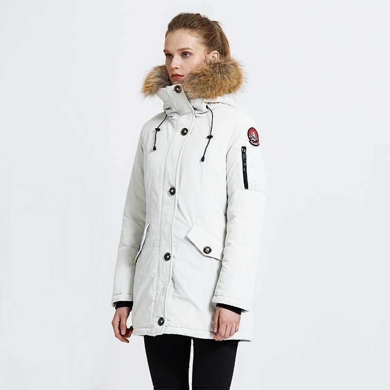 TIGER KRAFT Winter Jacke für Frauen Parka frauen Warm Verdicken Mantel mit Waschbär Pelz Kragen Weibliche Warme Snowjacket Padded mantel