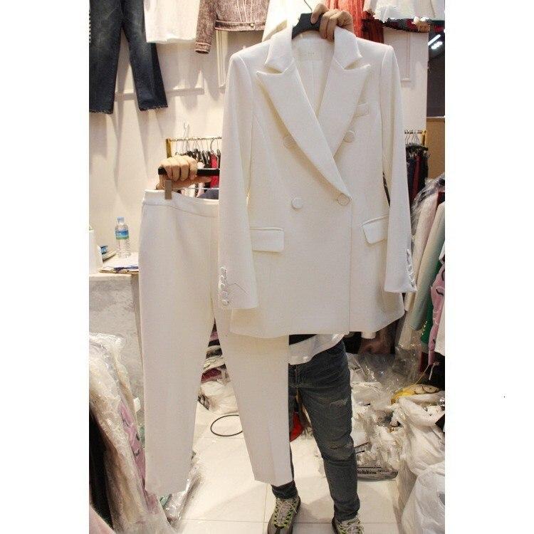 2019 Women Temperament Nine Pants Suit 2 Piece Set 2019 Summer Autumn Blazer And Straight Trousers Loose  Suit