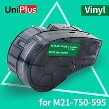 UniPlus 750-595 Vinyl Label Tapes Replace Brady Label Printer BMP21-PLUS LABPAL IDPAL M21-750-595 White on Green Adhesive Sticky uniplus 750 595 vinyl label tapes replace brady label printer bmp21 plus labpal idpal m21 750 595 white on green adhesive sticky