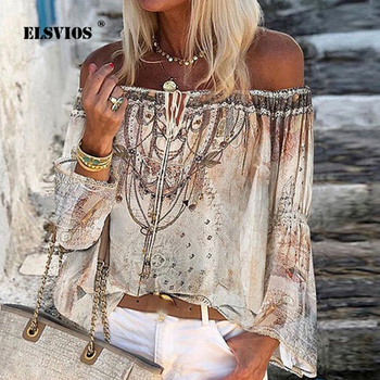 Summer Off Shoulder Floral Print Blouse Shirts Women Elegant Lace-up Hollow Out Top Vintage Flare Sleeve Ladies Office Blouses lace applique lantern sleeve cold shoulder top