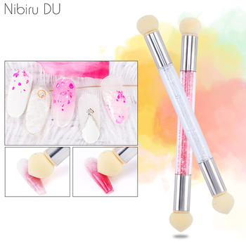 Double-Headed Gradient Brushes Acrylic Rhinestone Handle Sponge Nail Art Brush For Ombre Gradient Nails Manicure Tool 1
