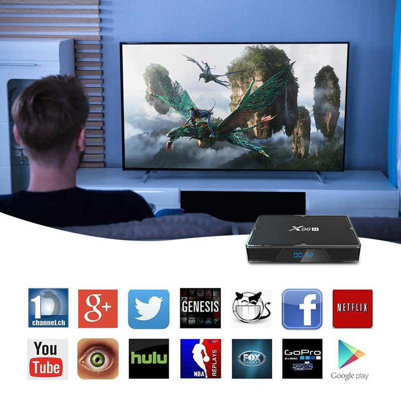 X96H H603 Allwiner Android 9.0 CAIXA de TV Quad-core Media Player HDMI Posto Para Fora 1 1 3 Entrada HDM porta USB 4K HD Set Top Box 4G 64G CAIXA