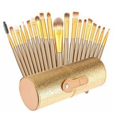 20 Pcs Professional Portable Eye Lip Makeup Brushers Tools Home Travel Brush Kit with Storage Bucket Make Up