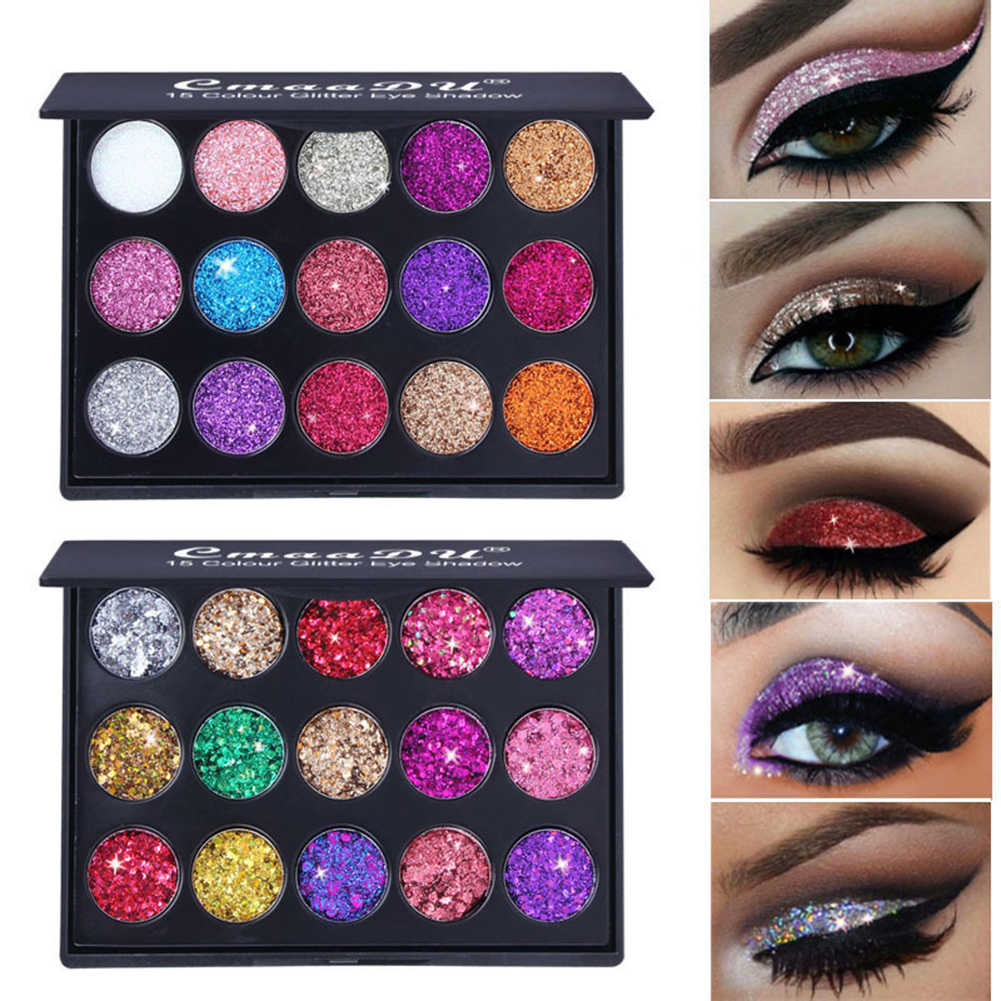 15 Warna Glitter Eye Shadow Pallet Pigmen Profesional Eye Makeup Palet Yang Tahan Lama Membuat Eyeshadow Palet Maquillage TSLM2
