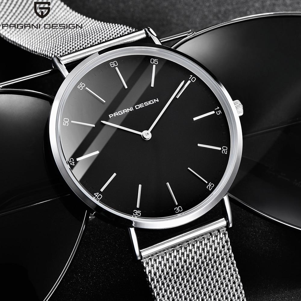 Pagani Design Simple Slim Case Stainless Steel Mesh Band Watches Ultra Thin Luxury Brand Business Men Quartz Watch Clock Male