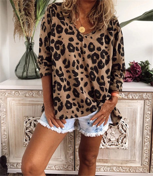 Autumn Women Sexy V-Neck T-Shirt Fashion Casual Women Leopard Print Long Sleeves Loose Tee Shirt Women Plus Size Tops Tees grey random floral print round neck long sleeves t shirt
