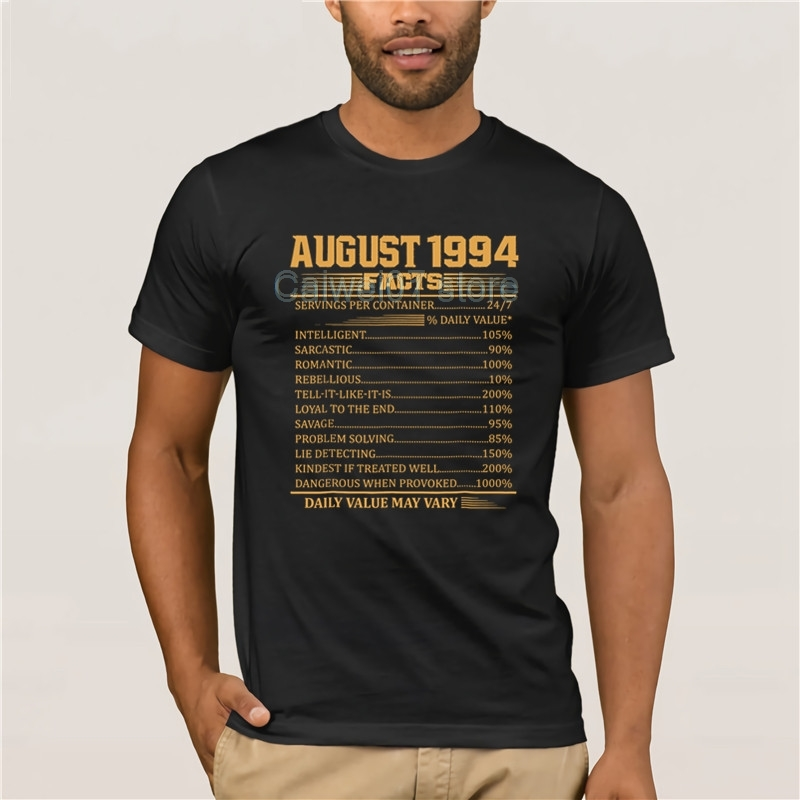 quality fashion men Trends Vintage 24th Birthday Made In AugusT 1994 Facts Men's Print Casual 100% Cotton T-Shirt Popular