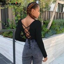 Женская футболка instunning с вырезами на спине облегающий топ