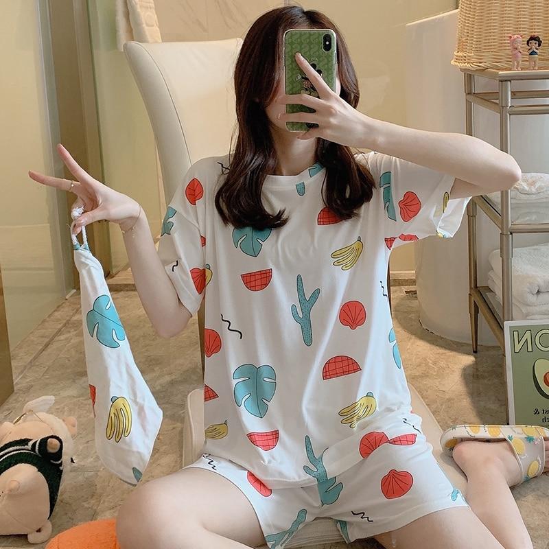 2020 WAVMIT Short Sleeve Pajamas Polyester Set Women Sleepwear 3Pcs Nightwear For Women Sleepwear Short Pant Cloth Bag