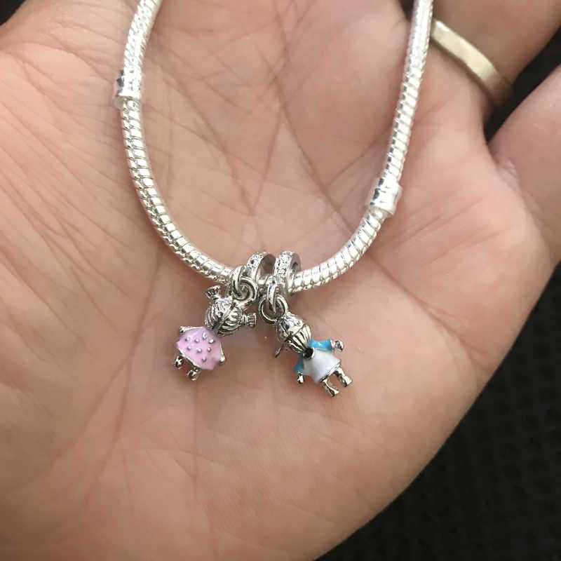 Yanhui 100% Originele 925 Sterling Zilveren Armband Met Minnaar Jongen & Meisje Charms Armband Diy Sieraden Gift Voor Vrouwen GBF005