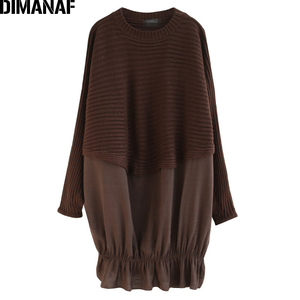 Image 5 - DIMANAF Oversize Autumn Women Sweater Knitting Pullovers Tops Plus Size Female Lady Fashion Casual Batwing Sleeve Basic Clothing