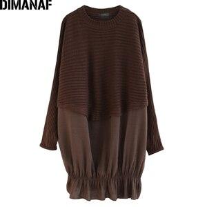Image 5 - DIMANAF Oversize jesień kobiety sweter na drutach swetry topy Plus rozmiar kobiet dama mody na co dzień Batwing rękaw podstawowe odzież