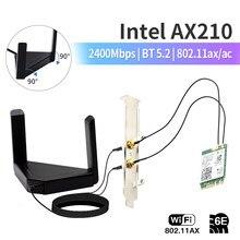 Banda dupla wi-fi 6e ax210 m.2 ngff wifi placa de rede 3000mbps bluetooth 5.2 desktop kit 802.11ax adaptador sem fio com antenas