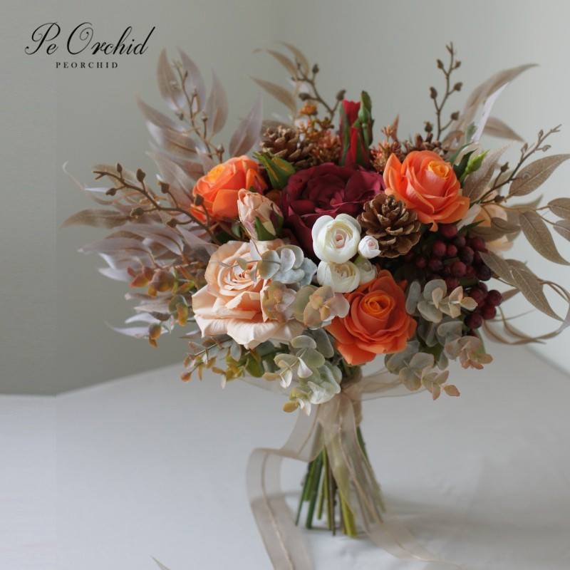 PEORCHID Artificial Orange Red Wedding Bouquets Roses Silk flower Bride Hand Bouquet Decoration Mariage