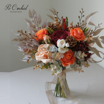 PEORCHID Artificial Orange Red Wedding Bouquets Roses Silk flower Bride Hand Bouquet Decoration Mariage scott rheuben roses are not red