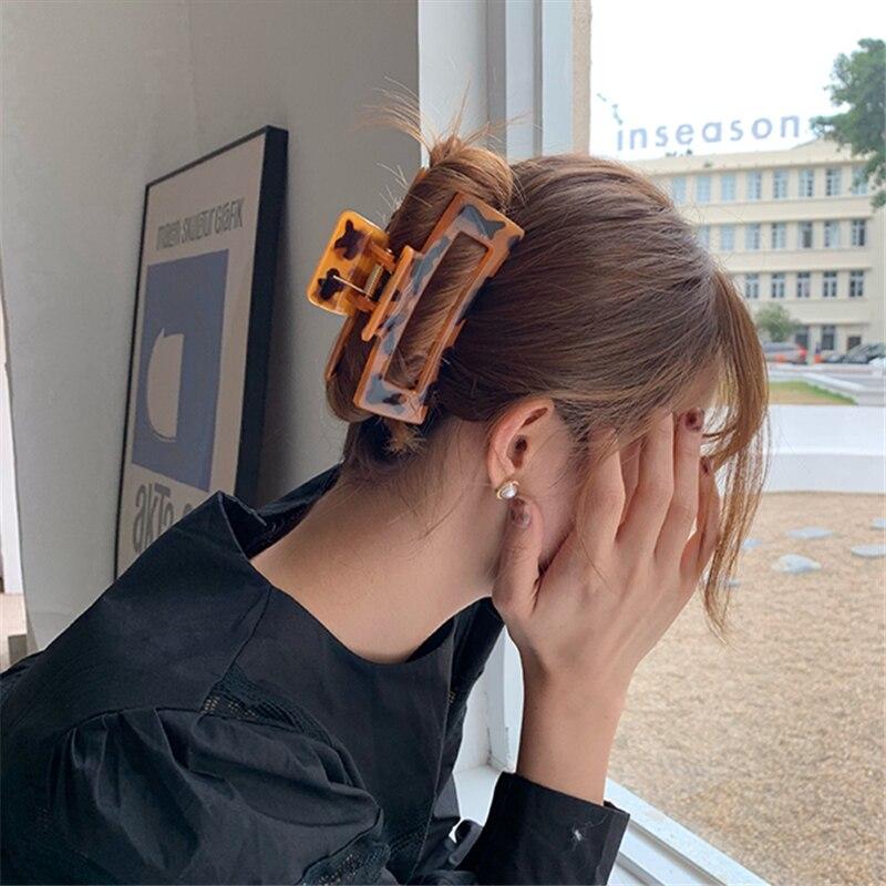 AOMU 2021 Новый Гипербола простые Леопардовый цвет, акриловый Элегантные Заколки для волос для укладки волос для женщин туда и обратно женские ...