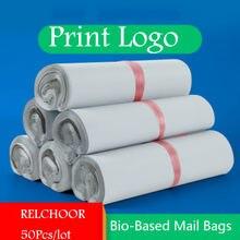 Sacoches de courrier blanches biodégradables à base biologique, sacoches de courrier écologique étanches, en plastique Poly à fermeture automatique