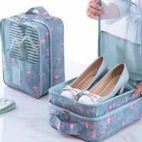 Conveniente sapatos e roupas organizador saco náilon à prova dnylon água sapatos bolsa de armazenamento bolsa de viagem portátil dupla camada maquiagem sacos