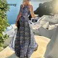Летнее платье без рукавов плиссированные макси Вечерние Платье 2021 элегантное платье в винтажном стиле; С узором в точку, для девушек, пляжно...