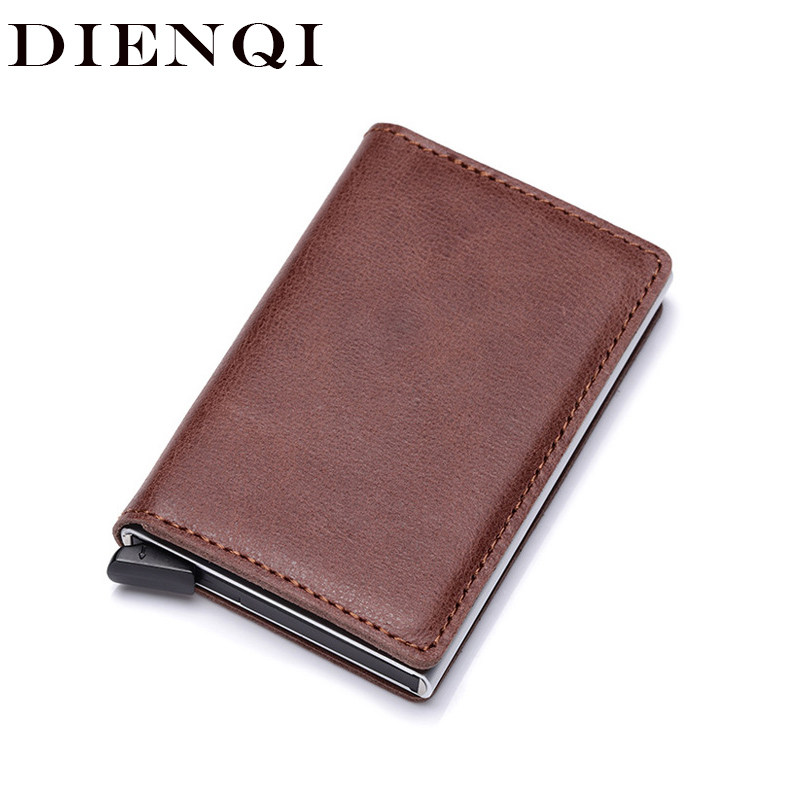 DIENQI Rfid Genuine Leather Men Wallet Card Holder Small Slim Wallets Male Mini Thin Purse Magic Money Bag Walet Vallet 2020 New