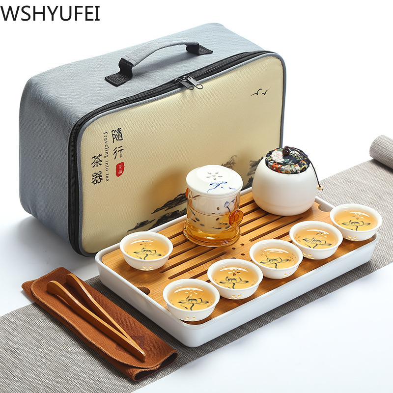 Chinese style ceramics exquisite teapot tea cup porcelain kung fu tea set drinkware Travel Convenient Tea Set business gift