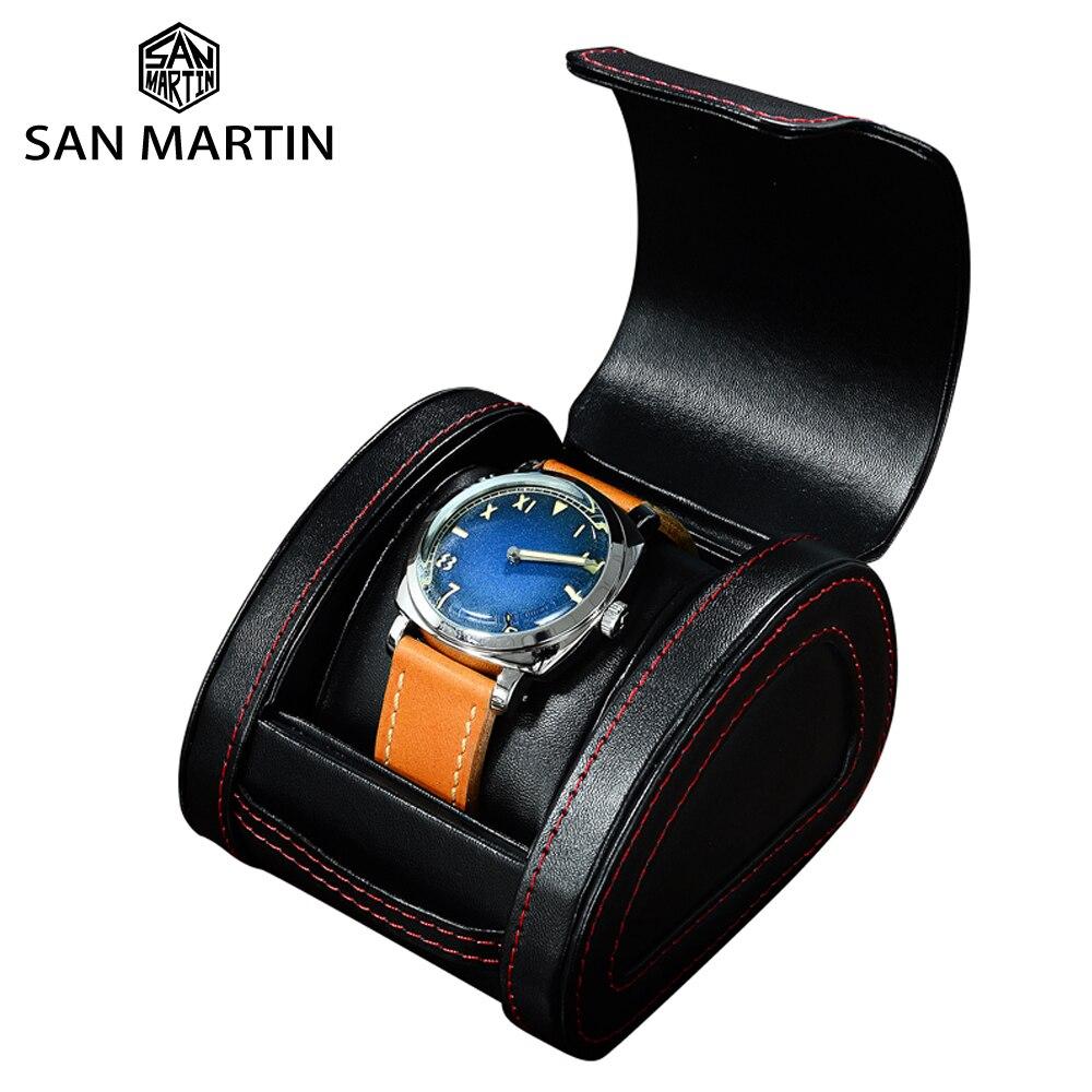 San Martin Portable haut de gamme en cuir noir montre boîte voyage stockage montre boîte cadeau boîte affichage paquet boîtes