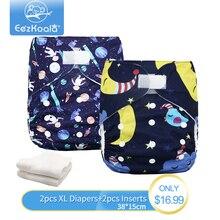 EezKoala Wholesale Big XL Cloth Diaper  2pcs diaper +2pcs inserts Washable Baby  Reusable Real Cloth Pocket Nappy Diaper Cover