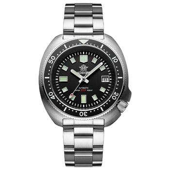 1970 Abalone 200m Diver Watch Sapphire crystal calendar NH35 Automatic Mechanical Steel diving Men's watch - Steel logo