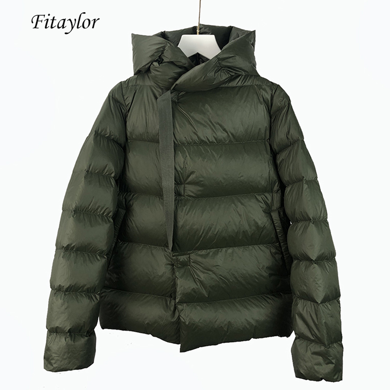 Fitaylor New Winter Short Jackets Women Ultra Light White Duck Down Parka Loose Snow Warm Hooded Overcoat Casual Down Outerwear