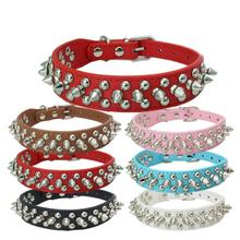 Pet Dog Supplies PU Leather Punk Rivet Spiked Collar Collars For  Small and medium dogs Cat