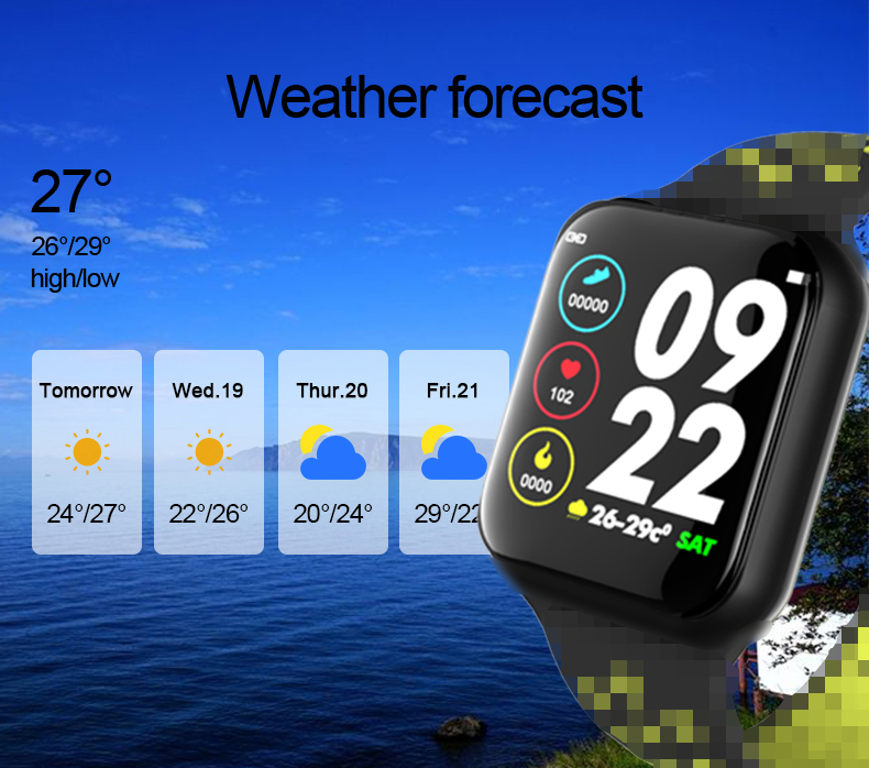 F8 Smart Watch Men Women Smart Clock Heart Rate Blood Pressure Oxygen Monitoring Fitness Tracker IP67 Waterproof F9 Sports Watch