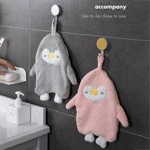 Hand-Towel Wipe Hanging-Type Cartoon Velvet 1pcs Absorbent Penguin Multi-Purpose Coral