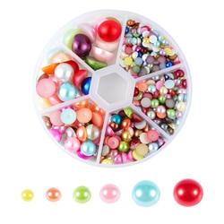 690pcs Mix Size ABS Imitation Pearl Beads Flat Back Beads Cabochon Half Round Bead For Jewelry Making  Flatback Beads Wholesale