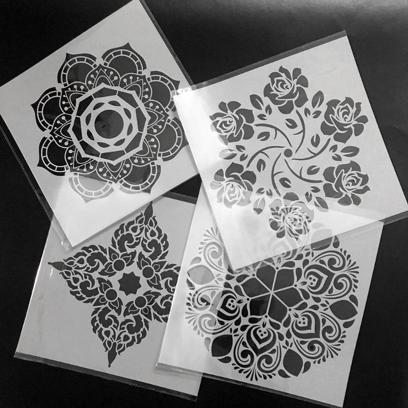 4pcs/set Mandala Stencil Wall Painting DIY Drawing Template Floor Tiles Funiture