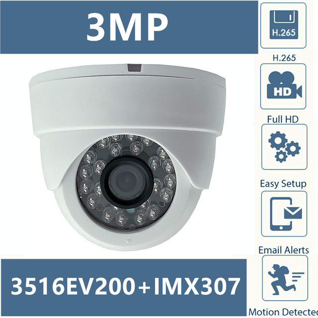 3516E+Sony IMX307 IP Ceiling Dome Camera 3MP 2304*1296 H.265 Low illumination NightVision IRC Onvif CMS P2P Motion Detection