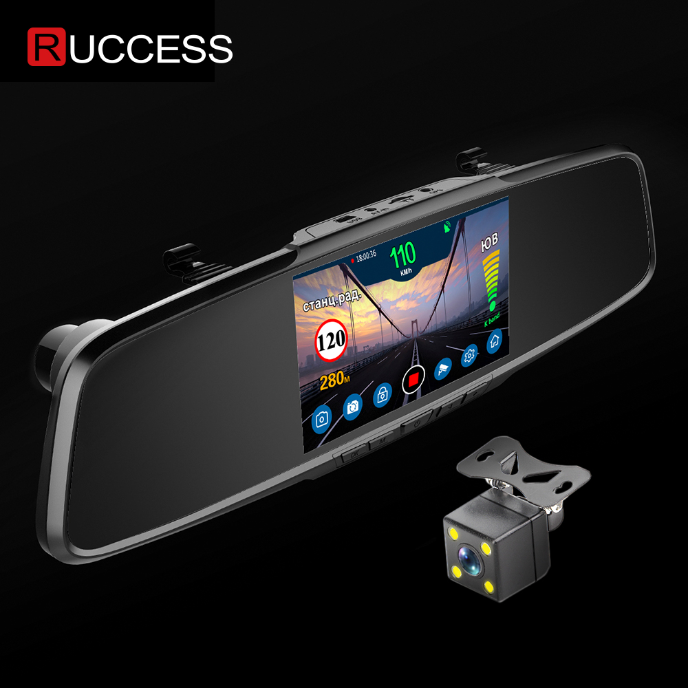 Ruccess Rear View Mirror <font><b>Radar</b></font> <font><b>Detector</b></font> <font><b>3</b></font> <font><b>in</b></font> <font><b>1</b></font> <font><b>DVR</b></font> Full HD 1080P Recorder Camera Anti <font><b>Radar</b></font> <font><b>CAR</b></font> <font><b>Detector</b></font> with <font><b>GPS</b></font> for Russia image
